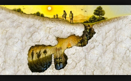 the representation of society in platos allegory of the cave Plato's similes of the cave and the divided line plato's theory of the forms means that acquiring knowledge involves turning away from  for society to be a .